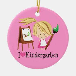 I Love Kindergarten Teacher or Student Gift Ceramic Ornament