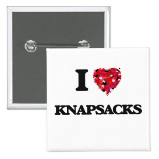 I Love Knapsacks 2 Inch Square Button