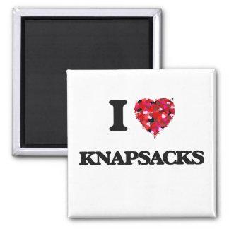 I Love Knapsacks Square Magnet