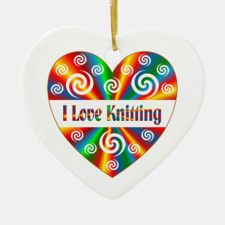 I Love Knitting Ceramic Ornament