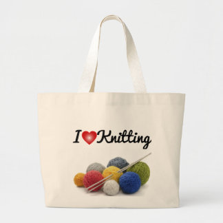 I love knitting large tote bag
