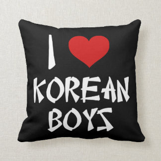 I Love Korean Boys Throw Pillow