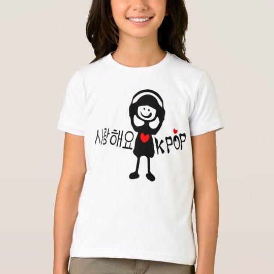 I love KPOP in Korean language Girls Ringer T-Shir T-Shirt