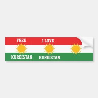 I LOVE KURDISTAN AND FREE KURDISTAN FLAG BUMPER STICKER