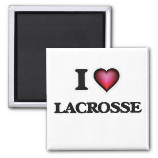 I Love Lacrosse Square Magnet