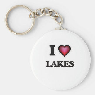 I Love Lakes Keychain