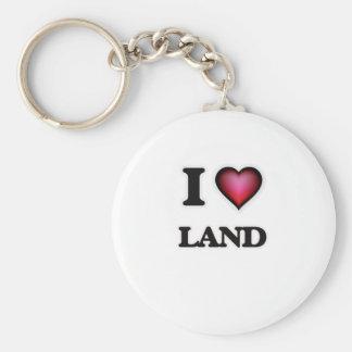 I Love Land Basic Round Button Keychain