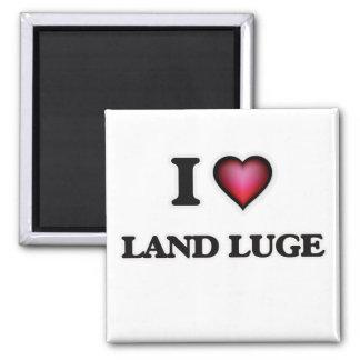 I Love Land Luge Square Magnet