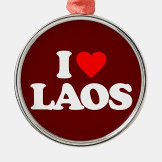 I LOVE LAOS Silver-Colored ROUND ORNAMENT