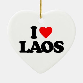 I LOVE LAOS CERAMIC HEART ORNAMENT