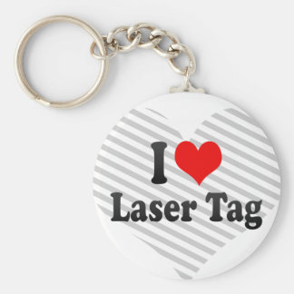 I love Laser Tag Basic Round Button Keychain