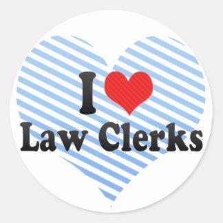 I Love Law Clerks Round Sticker