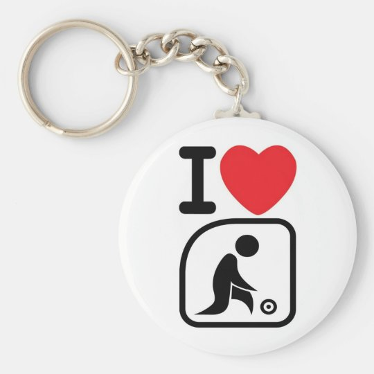 I love lawn bowls basic round button keychain
