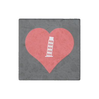 I Love Leaning Tower Of Pisa Icon Stone Magnets