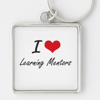 I love Learning Mentors Silver-Colored Square Keychain