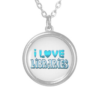 I Love Libraries Silver Plated Necklace