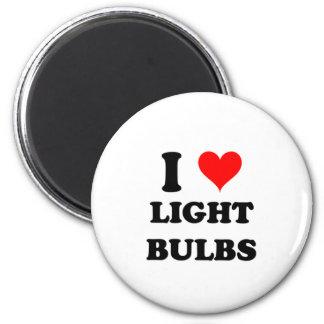 I Love Light Bulbs 2 Inch Round Magnet
