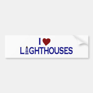 I Love Lighthouses Bumper Sticker