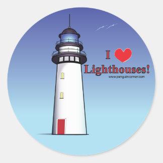 I Love Lighthouses! Classic Round Sticker