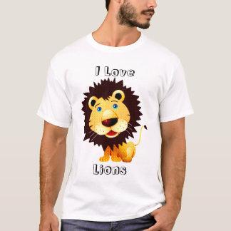 I Love Lions-Diamonds Texture Pattern T-Shirt