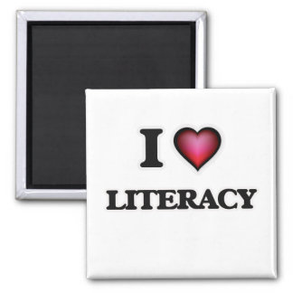 I Love Literacy Square Magnet