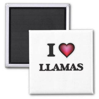 I Love Llamas Square Magnet