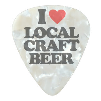 I LOVE LOCAL CRAFT BEER PEARL CELLULOID GUITAR PICK