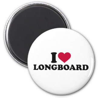 I love Longboard 2 Inch Round Magnet