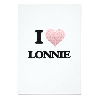 """I Love Lonnie (Heart Made from Love words) 3.5"""" X 5"""" Invitation Card"""