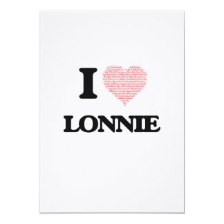 """I Love Lonnie (Heart Made from Love words) 5"""" X 7"""" Invitation Card"""
