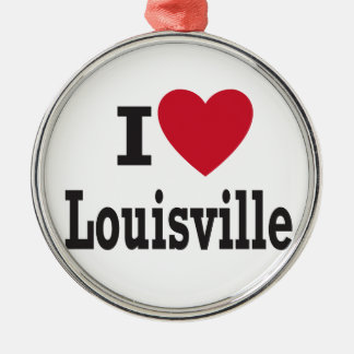 I LOVE LOUISVILLE Silver-Colored ROUND ORNAMENT