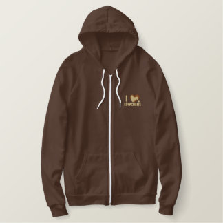 I Love Lowchens Embroidered Zip Hoodie