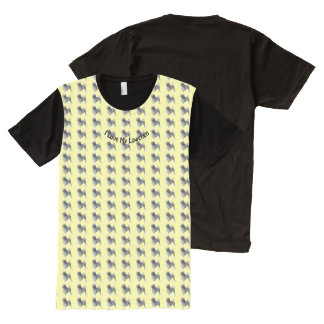 I Love Lowchens on Yellow All-Over-Print T-Shirt