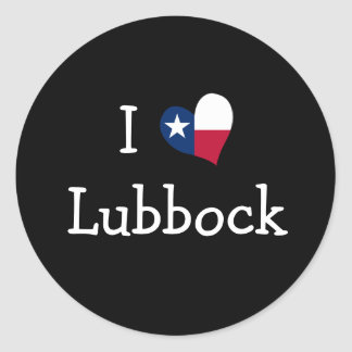 I Love Lubbock Texas Classic Round Sticker