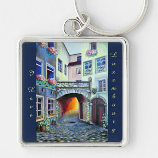 I love Luxembourg, painting Silver-Colored Square Keychain