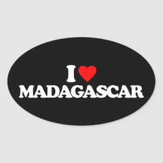 I LOVE MADAGASCAR OVAL STICKER