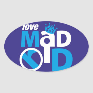 I Love Madrid Best Ever Club Oval Sticker