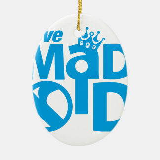 I Love Madrid Crown & Sign ED. Ceramic Oval Ornament