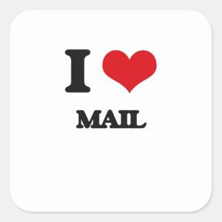 I Love Mail Square Sticker