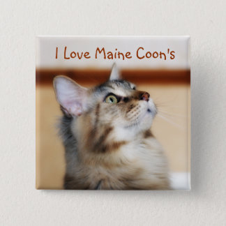 I Love Maine Coon's Badge - Maine Coon Kitten 2 Inch Square Button