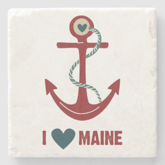 I Love Maine Red Anchor Stone Coaster