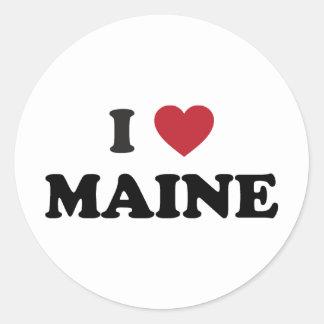 I Love Maine Round Sticker
