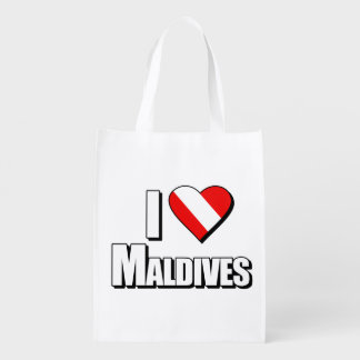 I Love Maldives Diving Reusable Grocery Bag
