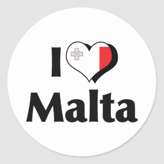 I Love Malta Flag Classic Round Sticker