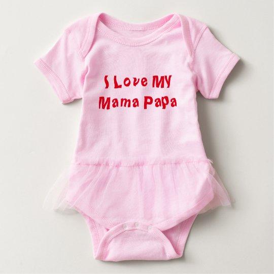 I Love Mama Papa Baby Bodysuit