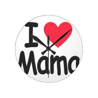I love mamma, mom, mother round clock