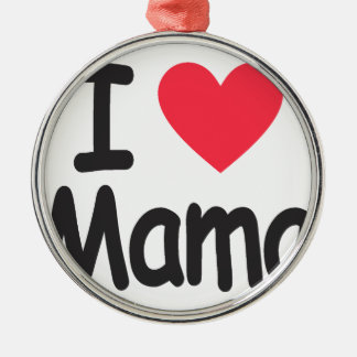 I love mamma, mom, mother Silver-Colored round ornament
