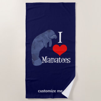 I Love Manatees Beach Towel