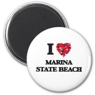 I love Marina State Beach California 2 Inch Round Magnet