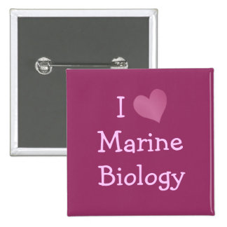 I Love Marine Biology 2 Inch Square Button